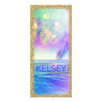 Radiant Palm Tree Rack Card Faux Glitter
