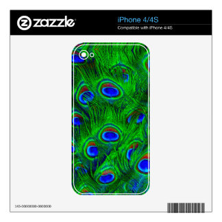 Radiant Peacock Feathers Art Design Skins For The iPhone 4S