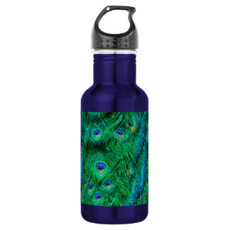 Radiant Peacock Feathers Photo Design 18oz Water Bottle