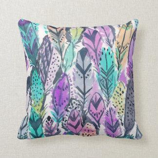 Radiant Purple Boho Feathers Throw Pillow