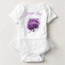 Radiant Purple Heart Leaf Tree Wedding Baby Bodysuit