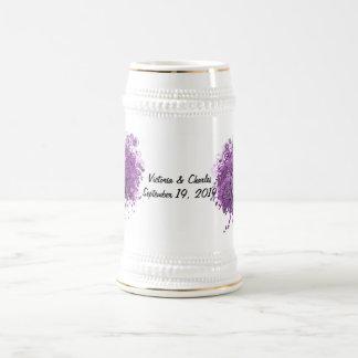 Radiant Purple Heart Leaf Tree Wedding Beer Stein