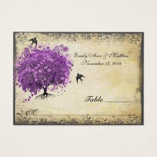 Radiant Purple Heart Leaf Tree Wedding Business Card