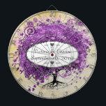 "Radiant Purple Heart Leaf Tree Wedding Dartboard With Darts<br><div class=""desc"">Photo Radiant Orchid Purple Love Bird Wedding</div>"