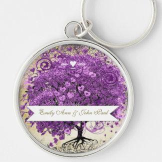 Radiant Purple Heart Leaf Tree Wedding Keychain