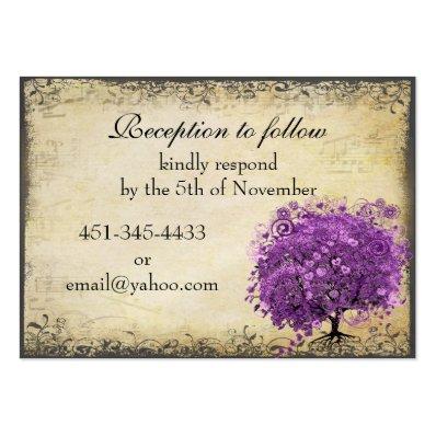 Radiant Purple Heart Leaf Tree Wedding Large Business Card