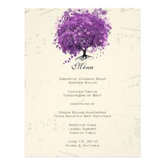 Radiant Purple Heart Leaf Tree Wedding Letterhead