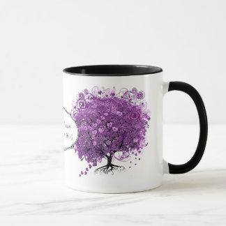 Radiant Purple Heart Leaf Tree Wedding Mug