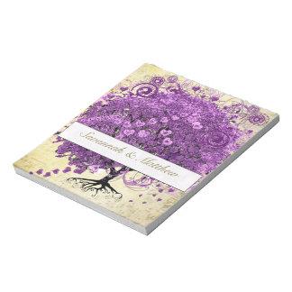 Radiant Purple Heart Leaf Tree Wedding Notepad