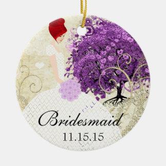 Radiant Purple Heart Leaf Tree Wedding Christmas Ornaments