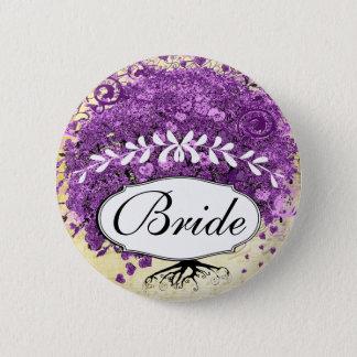 Radiant Purple Heart Leaf Tree Wedding Pinback Button