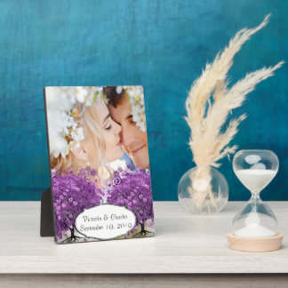 Radiant Purple Heart Leaf Tree Wedding Plaque