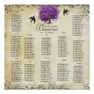 Radiant Purple Heart Leaf Tree Wedding Poster