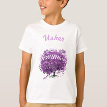 Radiant Purple Heart Leaf Tree Wedding T-Shirt