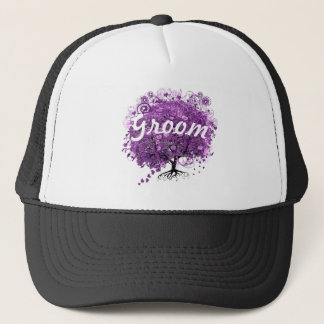 Radiant Purple Heart Leaf Tree Wedding Trucker Hat