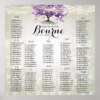 Radiant Purple Mason Jar Firefly Heart Leaf Tree Poster