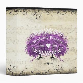 Radiant Purple Romantic Heart Leaf Wedding 3 Ring Binder