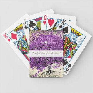 Radiant Purple Romantic Heart Leaf Wedding Bicycle Playing Cards