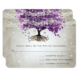 Radiant Purple Romantic Heart Leaf Wedding Card
