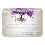 Radiant Purple Romantic Heart Leaf Wedding 3.5x5 Paper Invitation Card