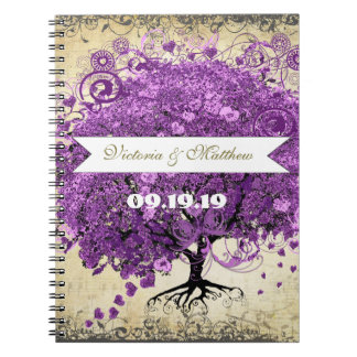 Radiant Purple Romantic Heart Leaf Wedding Spiral Note Books