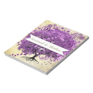 Radiant Purple Romantic Heart Leaf Wedding Notepad