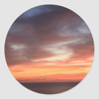 Radiant Red and Orange Sunset Sky Classic Round Sticker
