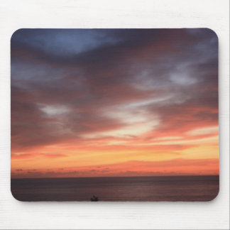 Radiant Red and Orange Sunset Sky Mouse Pad