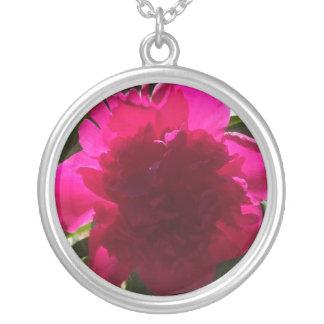 Radiant Red Peony Round Pendant Necklace