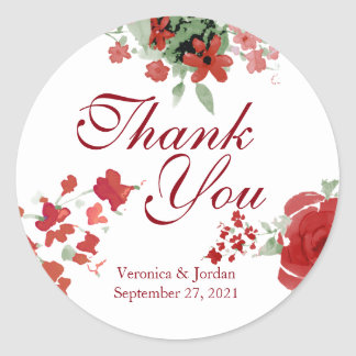 Radiant Red Watercolor Floral Thank You Stickers
