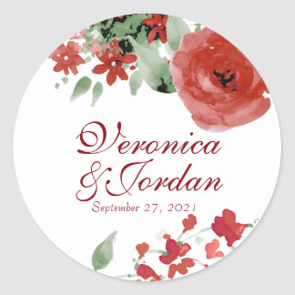 Radiant Red Watercolor Roses Wedding Stickers