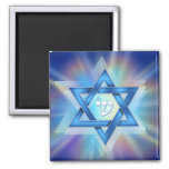 Radiant Star of David 2 Inch Square Magnet