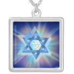 Radiant Star of David Square Pendant Necklace
