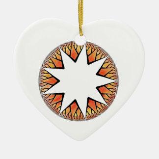 Radiant Sun Star Double-Sided Heart Ceramic Christmas Ornament