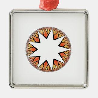 Radiant Sun Star Square Metal Christmas Ornament