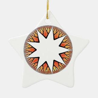 Radiant Sun Star Double-Sided Star Ceramic Christmas Ornament