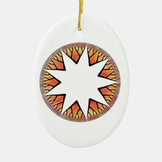 Radiant Sun Star Double-Sided Oval Ceramic Christmas Ornament