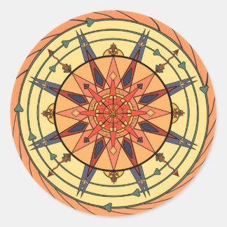 Radiant Sun Vintage Art Mandala Sticker Round Sticker