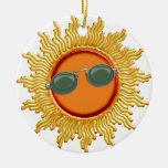 Radiant Sun with Sunglasses Ceramic Ornament