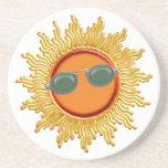 Radiant Sun with Sunglasses Coasters