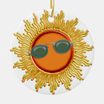 Radiant Sun with Sunglasses Double-Sided Ceramic Round Christmas Ornament