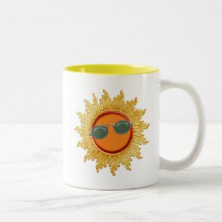 Radiant Sun with Sunglasses Two-Tone Coffee Mug