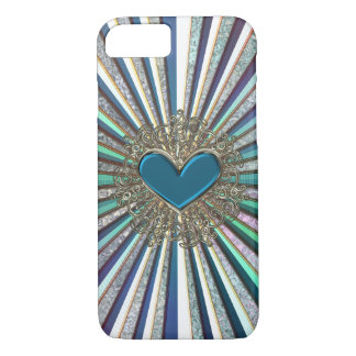 Radiant Turquoise Blue Green Heart iPhone Case