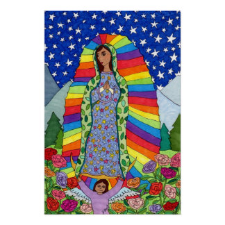 Radiant Virgin of Guadalupe Mexican Folk Art Poster