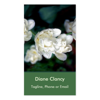 Radiant White Flowers, Forest Green Leaves Business Card