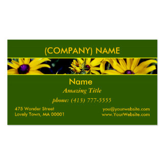 Radiant Yellow Daisies, Purple Center Green Leaves Business Card