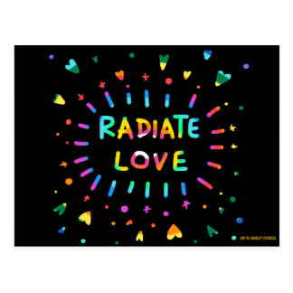 Radiate Love Colorful Painting Black Postcard