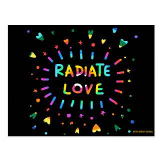 Radiate Love Colorful Painting Black Postcard