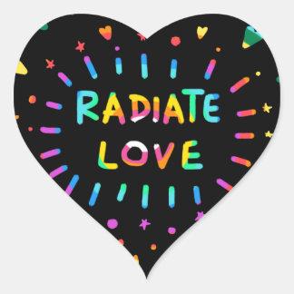 Radiate Love Colorful Rainbow Painting on Black Heart Sticker