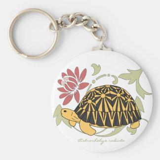 Radiated Tortoise Keychain (floral black)